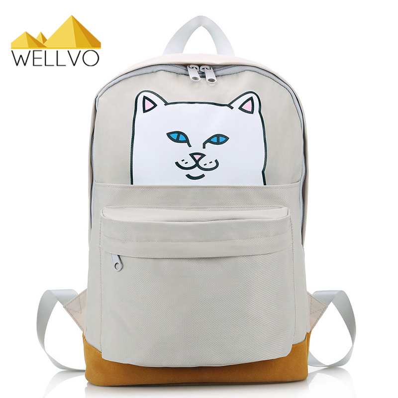 Funny Cat Backpack Women Cute Canvas School Bags For Teenage Girls Patchwork Printing Backpacks Boys Character Book Bag XA15C 3d cartoon kindergarden backpack children bag mini school bags for kids bag girls boys cute kid car backpacks