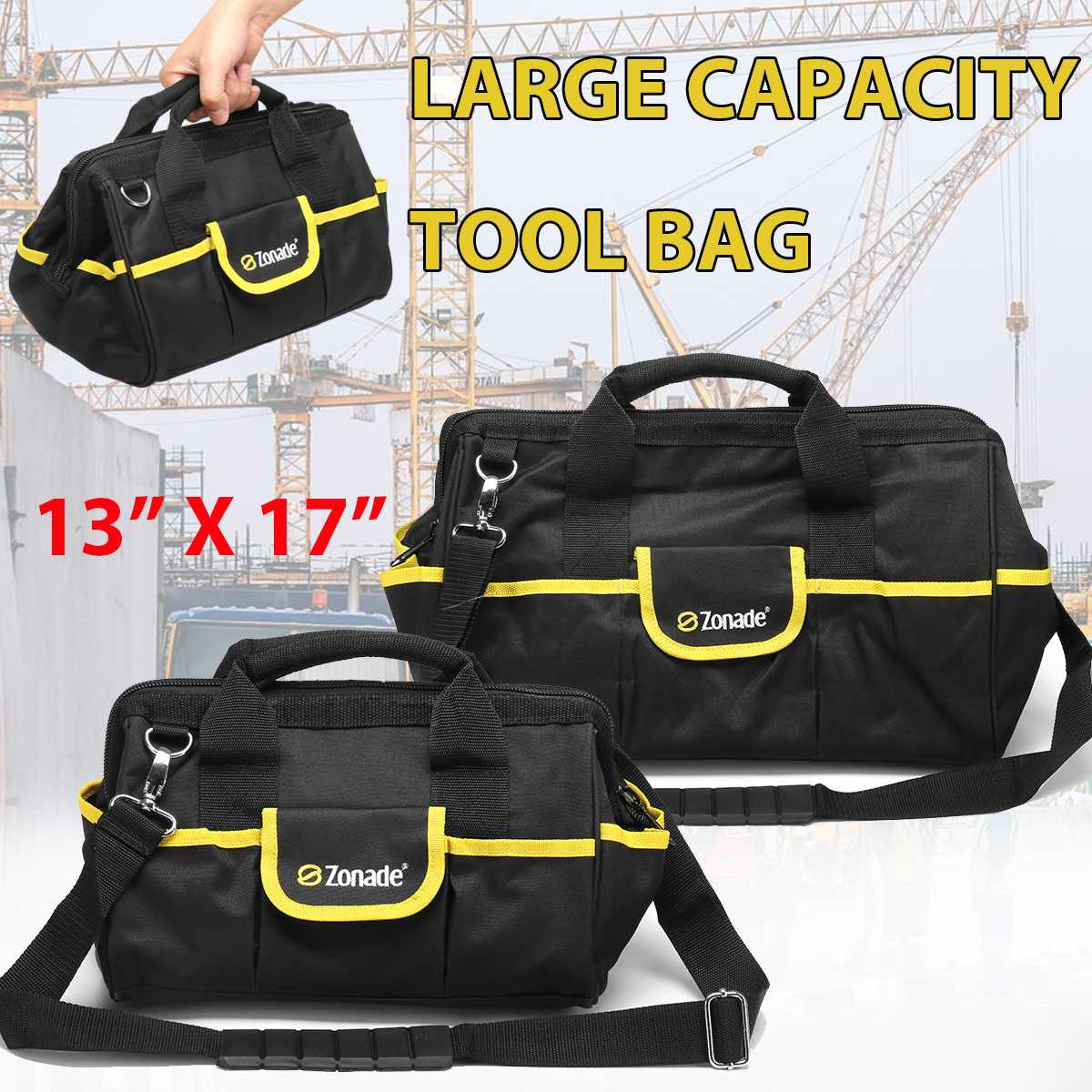 13 Inch 17 Inch Oxford Cloth Tool Bag Double Thickness Waterproof Toolbag Multi-function Drill Electric Screwdriver Tool Pouch