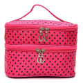 Womens Fashion Portable Toiletry Bag Dot Pattern Double Layer Makeup Bag Organizer rose red