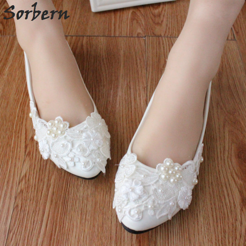 Sorbern Cute Pearl Flowers Lace Wedding Shoes Flat Heels Comfortable Patent  Leather Bridal Shoes Flat Lace d4d16ae4a0fe
