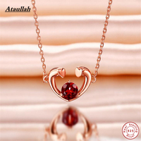 925 Sterling Silver Necklaces Natural Ruby Stone Long Chain Women Pendant Necklace Jewelry Brand Ataullah NWP406