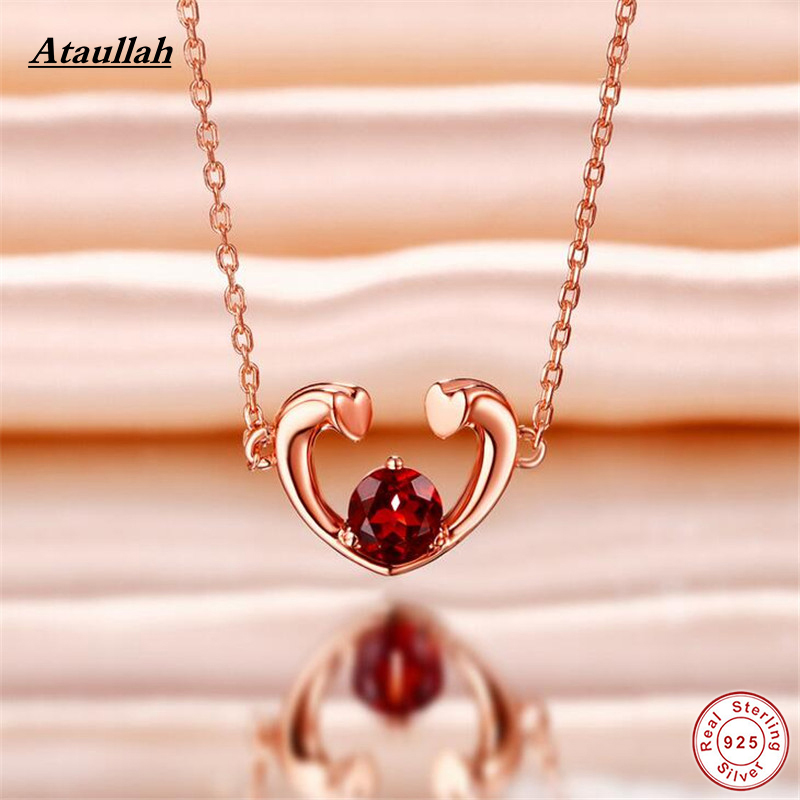 925 Sterling Silver Necklaces Natural Ruby Stone Long Chain Women Pendant Necklace Jewelry Brand Ataullah NWP406 все цены