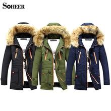 SOHEER Мода Парки Мужчины Средней длины Зимнее Пальто Мужчины Утолщение Хлопка мягкой Зимой Куртки Мужчины С Меховым Капюшоном куртка
