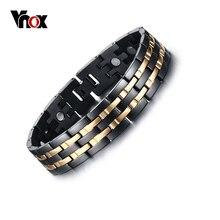 Vnox hombres pulsera magnética saludable oro y negro plateado joyería de moda de acero inoxidable de energía