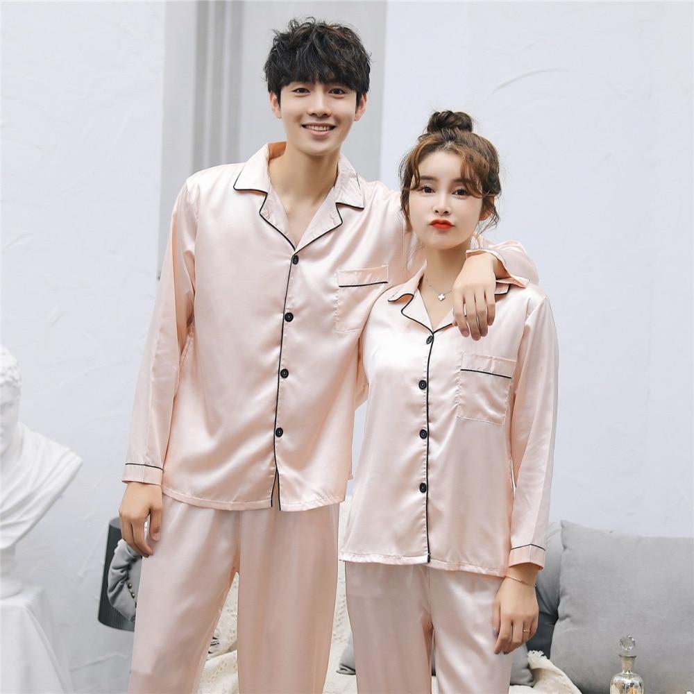 Brand New China Satin Silk Pajamas Sets Long Sleeved Long Pants Couple Sleepwear Family Homewear Women & Men Lover Home Clothes