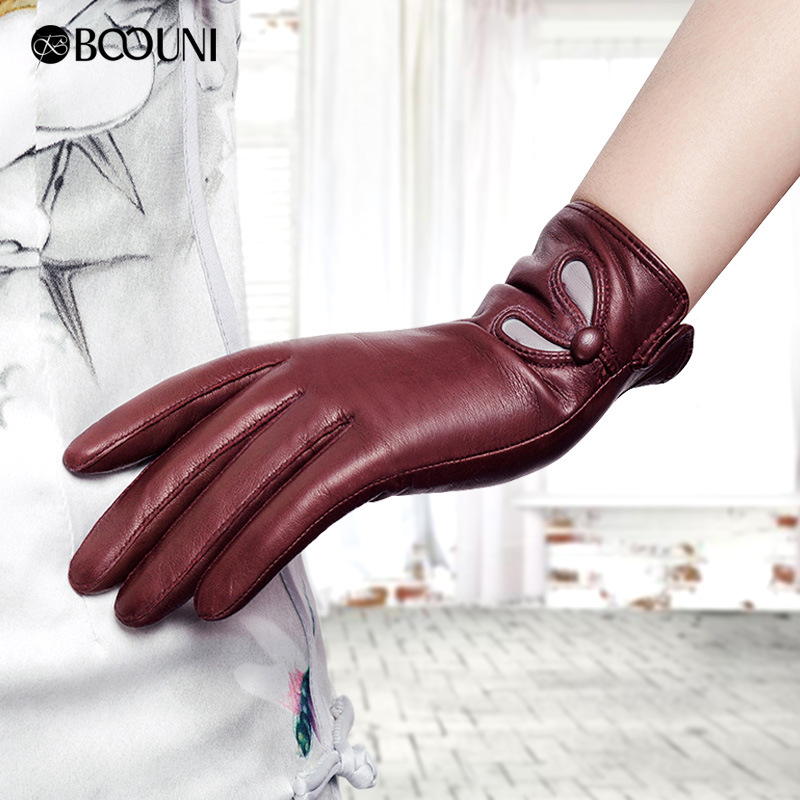 Real Leather Women Gloves Autumn Winter Plus Velvet Fashion Trend Elegant Lady Sheepskin Glove For Driving Winter Gloves NW902