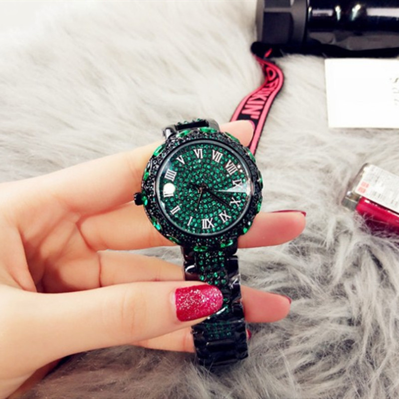 Fashion Luxury New Authentic Ladies Watch Large Dial American Full Rhinestone Steel Belt Quartz Waterproof Tide Watch in Women 39 s Watches from Watches