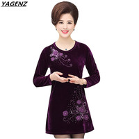 Autumn Women Dresses Middle Age Mother Clothing Embroidery Gold Velvet Dress O-neck Long Sleeve Sexy Mini Short Dress YAGENZ 398