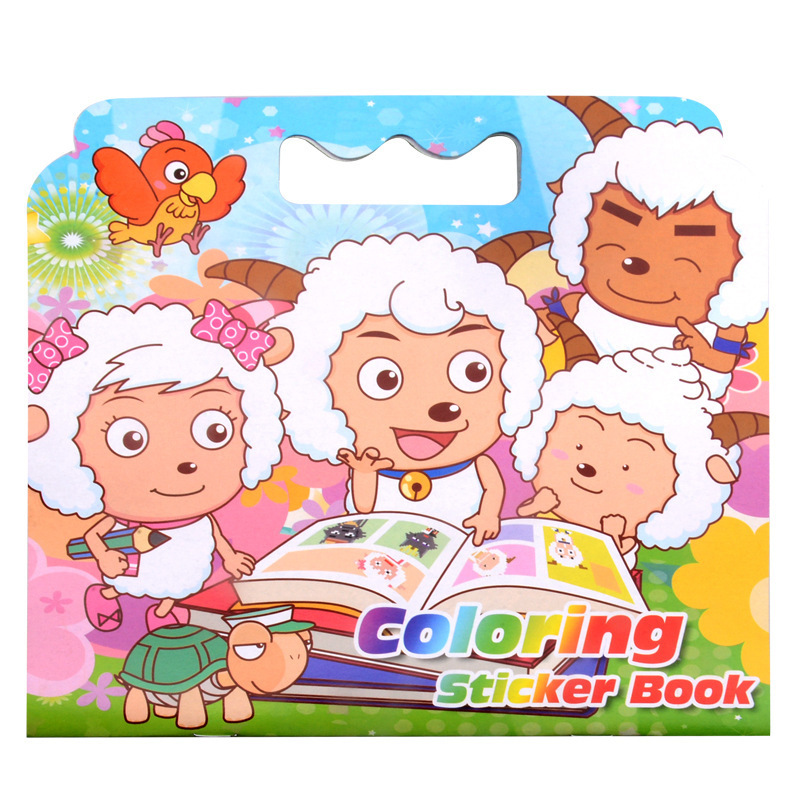 16 Pages Cute Small Sheep Coloring Sticker Book For Children Adult Relieve Stress Kill Time Graffiti Painting Drawing Art Book