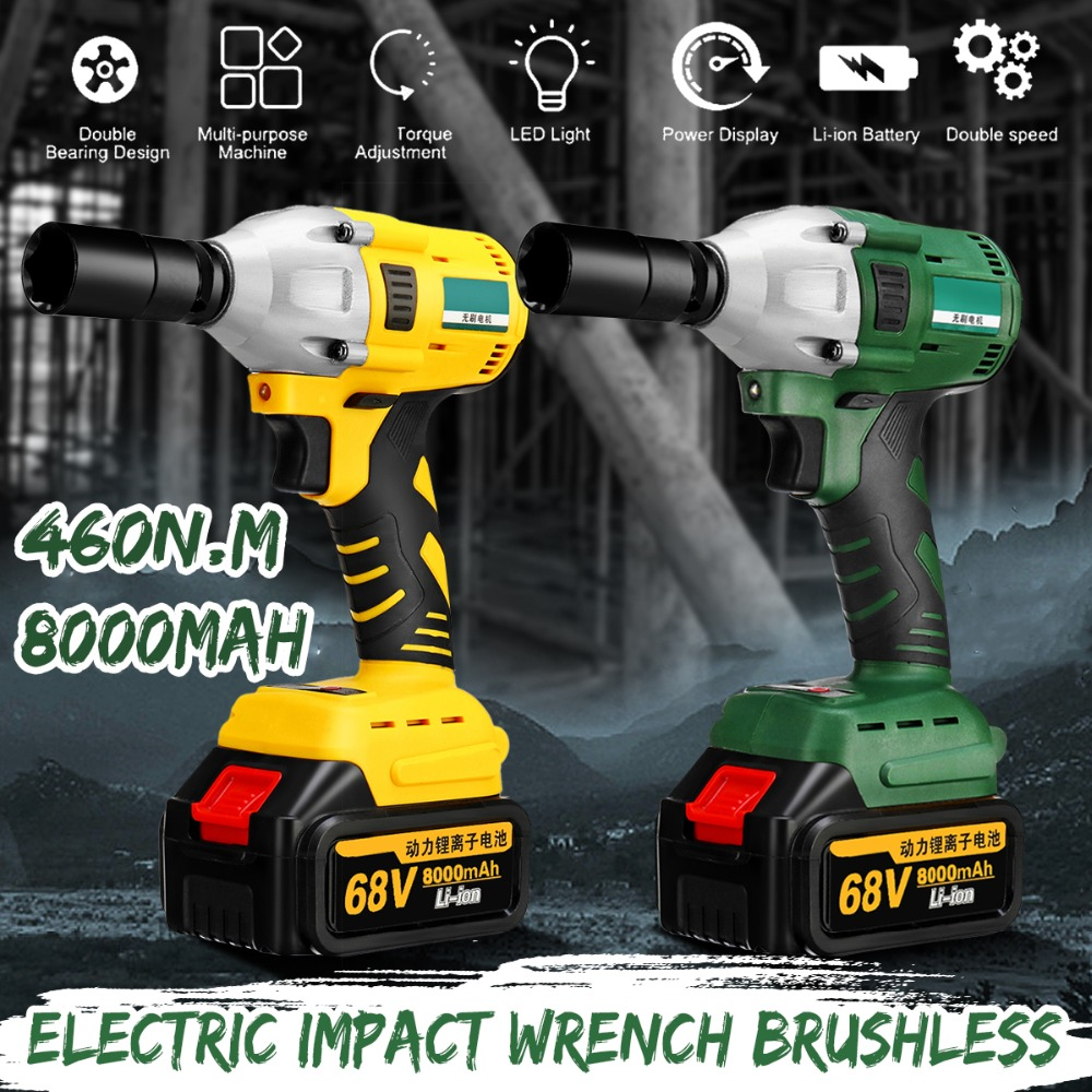 Brushless Cordless Electric Impact Wrench 68V 8000mAh 460N.m With 2 Batteries 1 Charger Hand Drill Installation Power ToolsBrushless Cordless Electric Impact Wrench 68V 8000mAh 460N.m With 2 Batteries 1 Charger Hand Drill Installation Power Tools