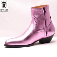 2019 FR.LANCELOT Pink Shiny Genuine Leather Men Boots Top Quality Side Zipper Low Heel Party Wedding Shoes Mens Trainers