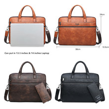 JEEP BULUO Men's Briefcase Bags For 14″ Laptop Man Business Bag 2Pcs Set Handbags High Quality Leather Office Shoulder Bags Tote