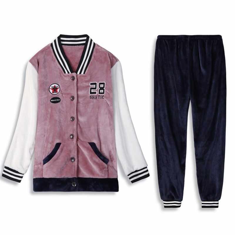 Большие размеры L-6XL 7XL 8XL зимняя женская плотная Фланелевая пижама осенняя одежда для сна Пижама femme feminino Ночная одежда Пижама