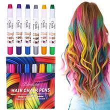 Мел для волос, 6 цветов, портативный Мел для волос, набор временных мелок для волос