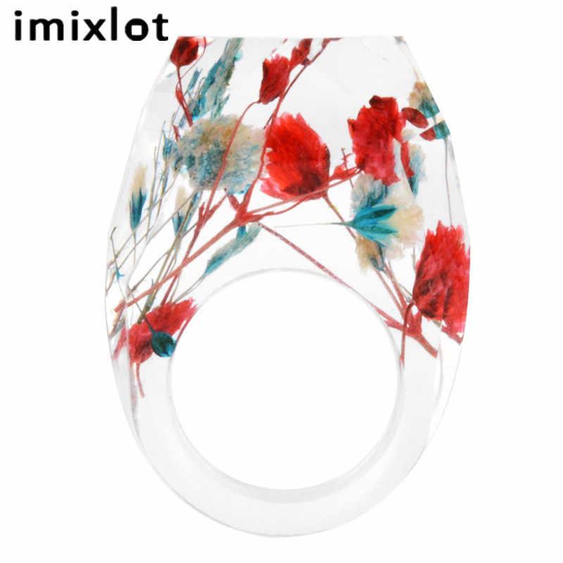 Imixlot 赤ドライフラワー透明樹脂指輪ジュエリーエレガントな女性のチャームギフトアクセサリー