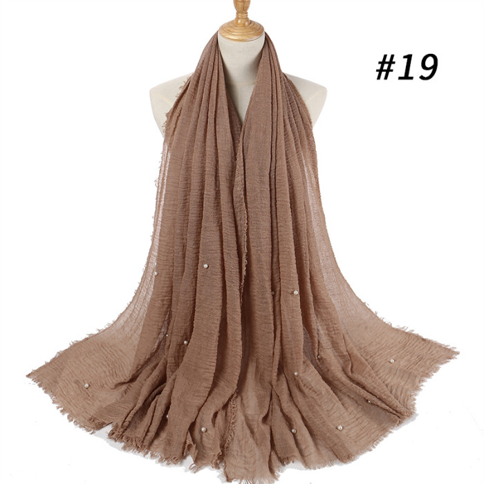 pearls beaded cotton   scarf   fringes women soft solid hijab popular muffler shawls big pashmina   wrap   hijab   scarves