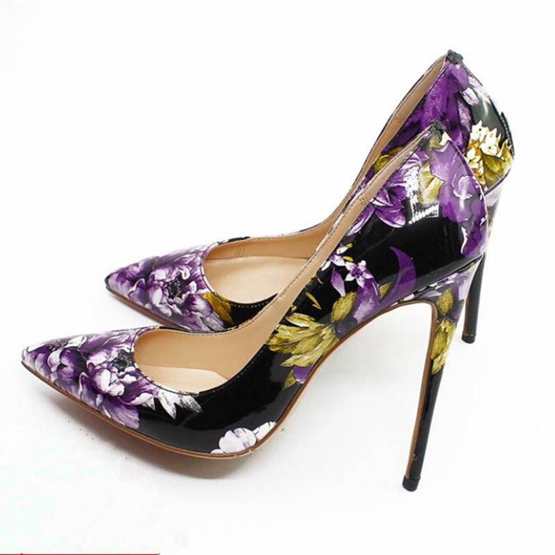 New printed women shoes patent leather 12 cm stiletto pumps sexy pointed toe high heels ladies party wedding shoes big size 43 33 43 2018 spring shoes women heels patent leather shoes heel women high quality women pumps high heels big size 5 5 cm page 3