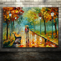 Knife Landscape Oil Painting Tree Park Night Street Scene On Canvas Home Wall Art Abstract Pictures