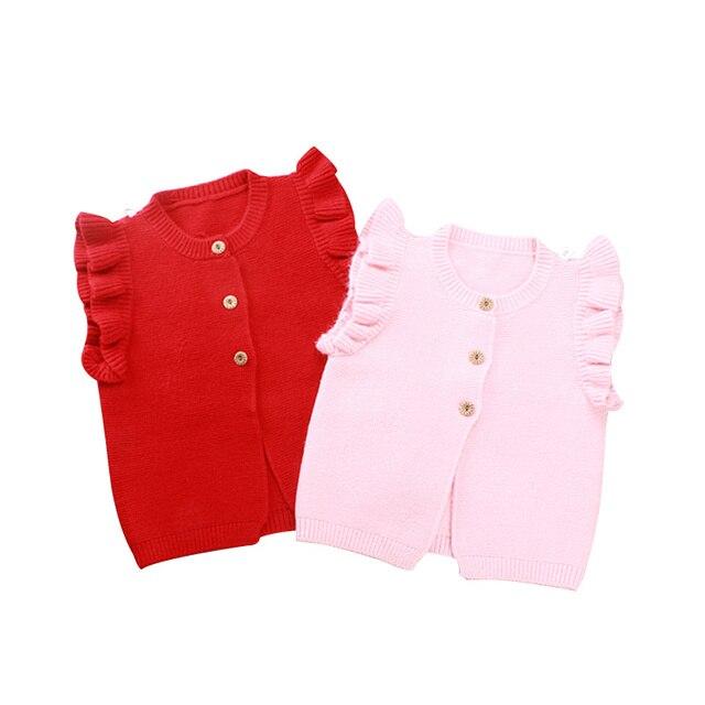 Rüschen Baby Mädchen Pullover Cotton Infant Strickjacke Weste