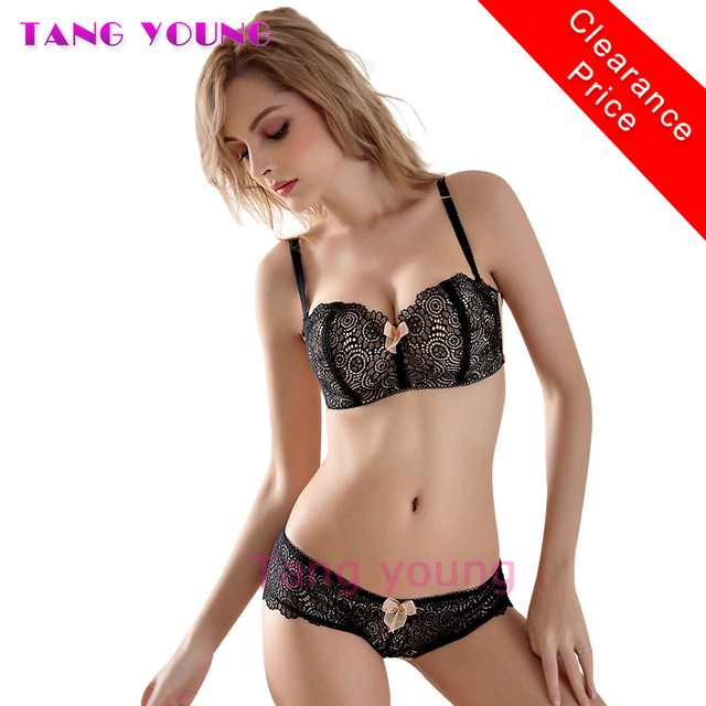 TANG YOUNG Luxury Sexy 1 2 Cup Push Up Bra Set Underwear Floral Embroidery  Lace Women B Cup Bra And Panty Set French Knickers 7a771a2c1