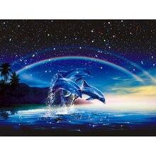 6904a51da5 NUOVO Full Quadrato/trapano Turno 5D ricamo Diamante DIY Arcobaleno e  delfino Diamante Dipinto Cross