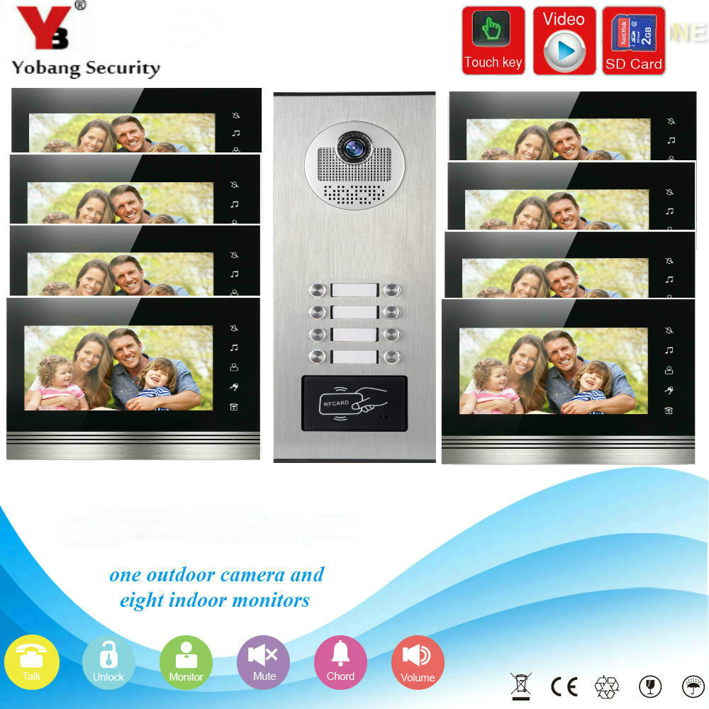 YobangSecurity 7 Inch Video Door phone Doorbell Intercom Monitor System RFID Card With Video Recording SD Card For 8 Apartment door intercom video cam doorbell door bell with 4 inch tft color monitor 1200tvl camera