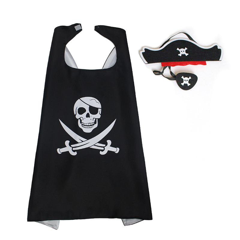Pirate Cape with Hat Costume For Kids Party Decoration Christmas Halloween Cosplay Pirate Costume Boys Girls Knight Cape