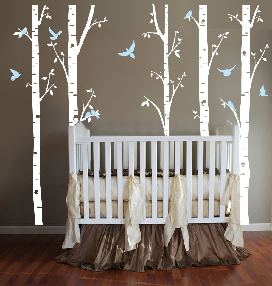 Special BirdsTree Branch set of five tree wall sticiker Birch Doves Birds Nursery Kids Room Wall Decal woodland tree decal W-847