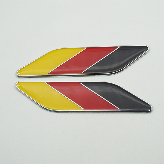 10 Pairs Aluminum Alloy Germany Flag Car Fender Sticker Styling