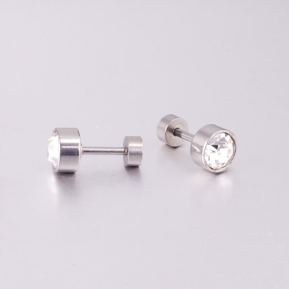 ASONSTEEL Gold/Silver Color Stud Earrings CZ Round Crystal Stainless Steel Women Earrings Jewelry Gift Accessories,Anti-allergy