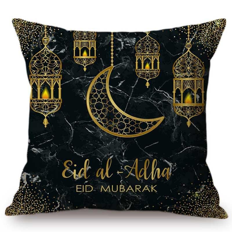 Eid Mubarak Zwart Marmer Textuur Moslim Islamitische Thema Decoratie Kussensloop Linnen Islam Moskee Lantaarn Ontwerp Kussenhoes
