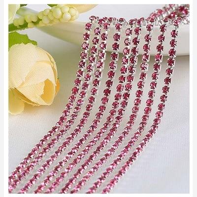 1 ярд/шт, 30 цветов, стеклянные хрустальные стразы на цепочке, Серебряное дно, Пришивные цепочки для рукоделия, украшения сумок для одежды - Цвет: Rose red