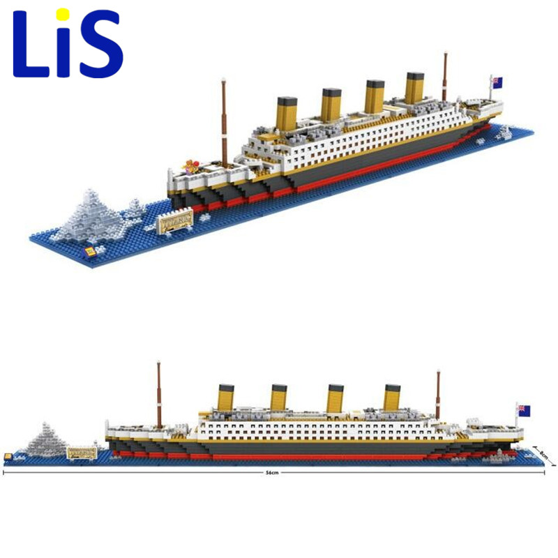 (Lis) 1860 Pcs RMS Titanic Ship 3D Building Blocks Toy Titanic Boat 3D Model Gift Toy For Children Legoinglys Christmas