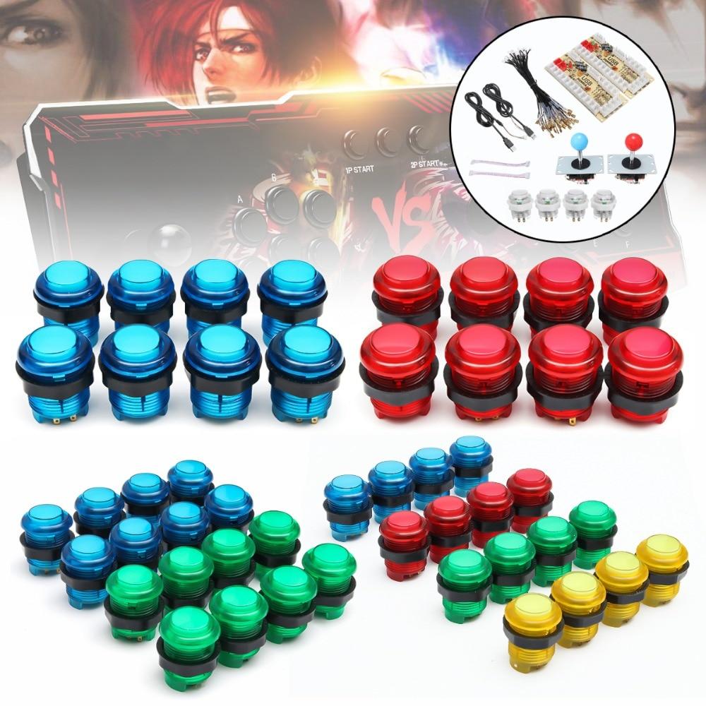 2 joueurs bricolage Kits de Joystick d'arcade avec 20 boutons d'arcade de LED + 2 Joysticks + 2 Kit d'encodeur USB + câbles jeu de pièces d'arcade
