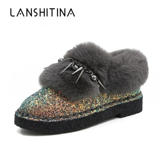 2018 Winter Women Snow Boots High Quality Bling Suede Leather Australia Boots Warm Slip On Casual Shoes Woman Rivet Fur Boots