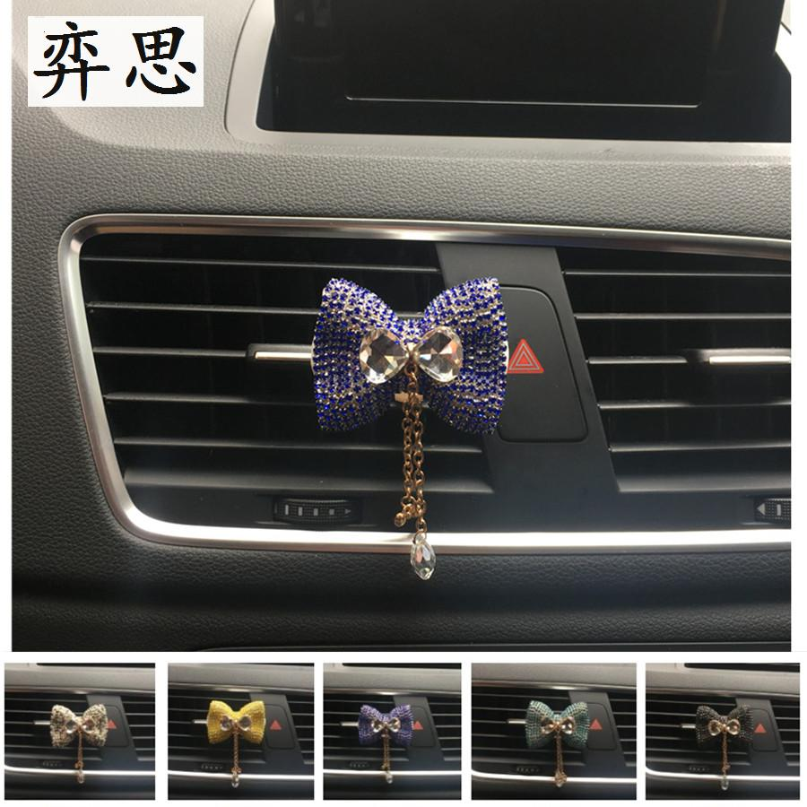 Exquisite Rhinestone Pendant Car perfume clip MS car air conditioning styling Decorative perfume Colorful bow tie Air Freshener