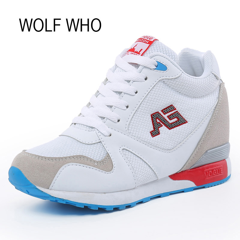 WOLF WHO  Ladies White High Heel Wedge Sneakers Women Platform Shoes Female Gumshoe Basket Femme 2017 Tenis Feminino x366 nayiduyun women genuine leather wedge high heel pumps platform creepers round toe slip on casual shoes boots wedge sneakers