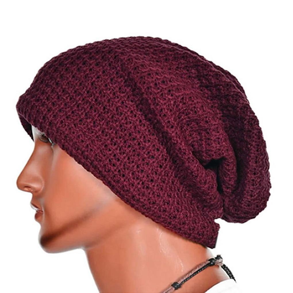 Hot selling  Men Knit Beanie Hat Baggy Long Slouchy Winter Warm Skull Caps Hats Black/Red/Gray hot winter beanie knit crochet ski hat plicate baggy oversized slouch unisex cap
