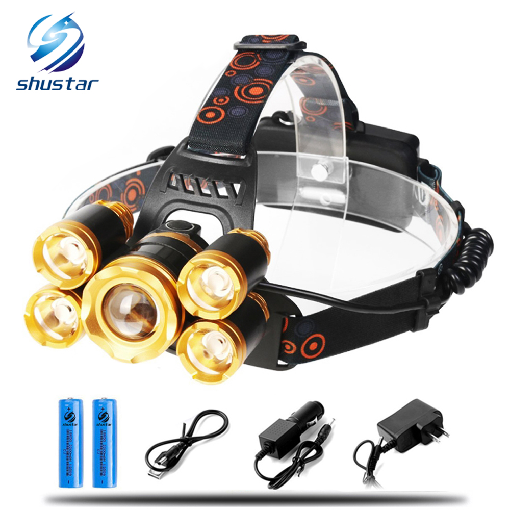 Rechargeable LED Headlamp Super Bright 5 LED 15000 Lumens Zoomable Waterproof CREE Headlamps Headlight for Cycling Running