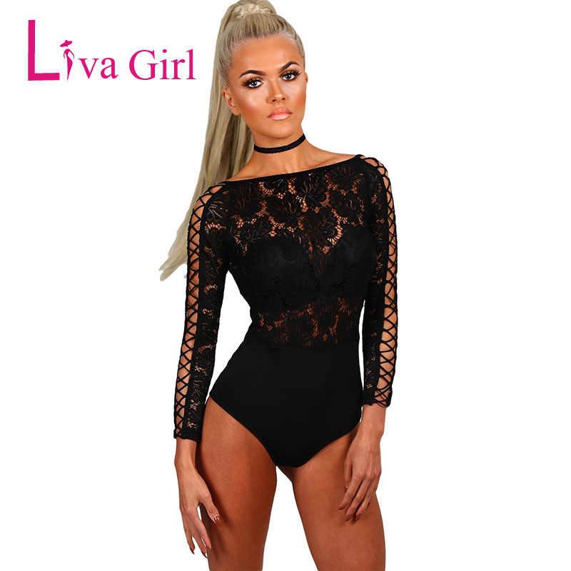 b36ad566901e LIVA GIRL Sexy Black Long Sleeve Bodysuit Elegant Women Lace Lattice  Playsuits Slash Neck Bodycon Jumpsuits