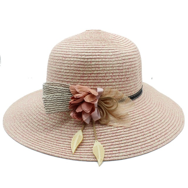 669db26f Women Summer Toquilla Straw Sun Hat For Elegant Lady Wide Brim Bucket Hat  With Flower Beach Queen caps