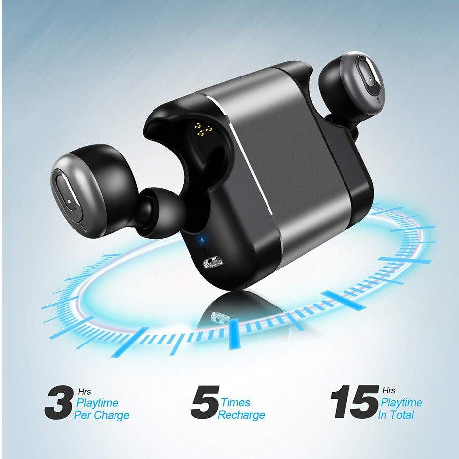 Mini Auricolari Bluetooth Super Bass Suono V5.0 TWS Auricolari Senza Fili di Sport a Mani Libere Cuffie Per Samsung iPhone Xiaomi - 3