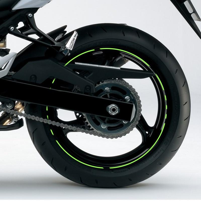 "Image 4 - 10"" 12"" 14"" 16"" 18"" Motorcycle Sticker Pegatinas Moto Strips Reflective Wheel Rim Adesivi Moto For Honda Yamaha Kawasaki Suzuki-in Decals & Stickers from Automobiles & Motorcycles"