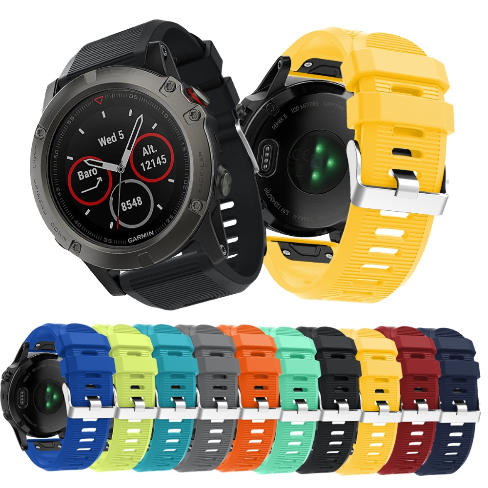 Replacement Quick Release 26MM Soft Silicone Strap for Garmin Fenix 5X /Fenix 3 /Fenix3 HR Smart Watch Sport Band Starp Black 12 colors 26mm width outdoor sport silicone strap watchband for garmin band silicone band for garmin fenix 3 gmfnx3sb