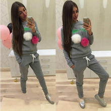 Women'S Sweatshirt Pullover Hoodies Two-Piece Sportsuit Sweatshirt+Sweat Pants Female Cherry Hairball Kawaii Brand Clothing z5