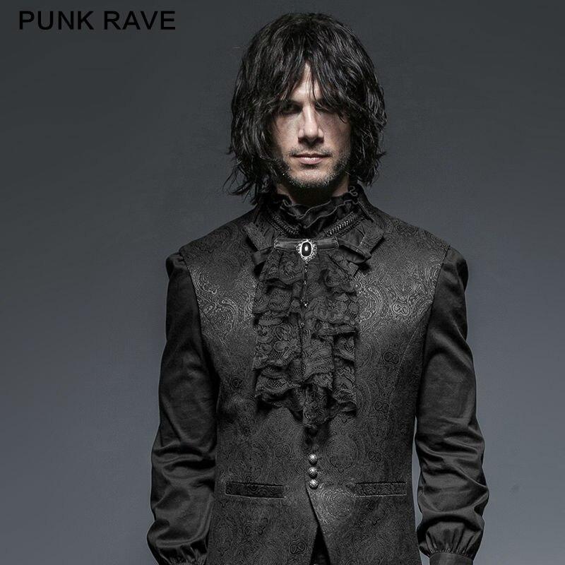 PUNK RAVE Men Gothic Victorian Style Gentlemen Ties Steampunk Black Lace Neck Tie Vintage Evening Party Formal Men Ties