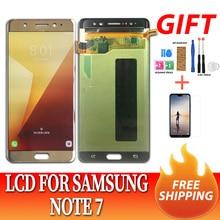 סופר AMOLED LCD עבור סמסונג N935F הערה FE LCD תצוגת מסך מגע digitizer עצרת לסמסונג N930F NOTE7 הערה 7 LCD + כלים