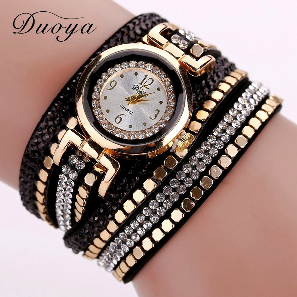 Duoya Brand New Luxury Rivets Crystal Gold Wrist Watch Women Leather Bracelet Watches Casual Vintage Quartz Watches DY043 сковорода чугунная биол со съемной ручкой диаметр 26 см