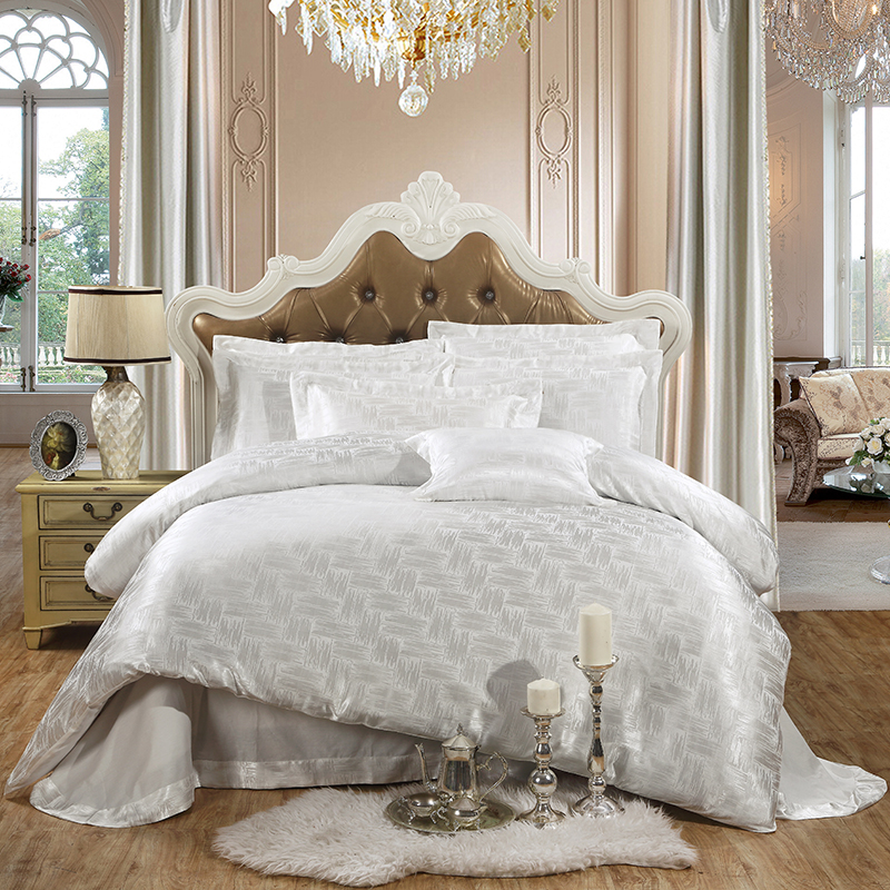 White Jacquard Silk bedding set king queen 4pcs Adult bed ...