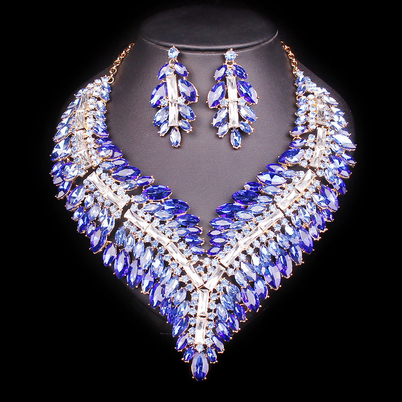 Big Crystal Bridal Jewelry Sets Wedding Party Costume Accessory Indian Necklace Earrings for bride Gorgeous jewellery sets WomenBig Crystal Bridal Jewelry Sets Wedding Party Costume Accessory Indian Necklace Earrings for bride Gorgeous jewellery sets Women